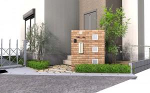 ガラスブロックとレンガの門壁外構
