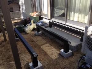 人工木デッキの組立